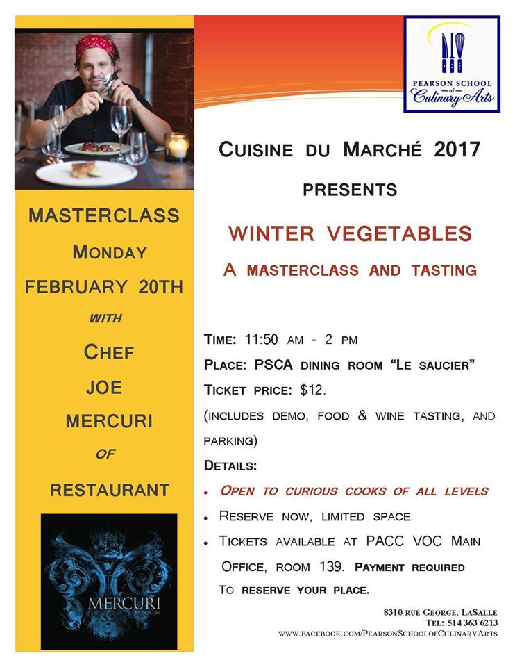 Chef Joe Mercuri visits PACC Culinary on Feb 20